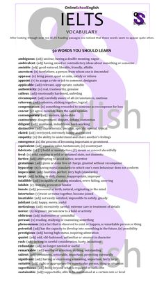 Top 50 IELTS words
