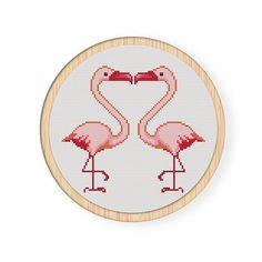 Instant Download,Free shipping,Cross stitch pattern, PDF,flamingo,love,ZXXC0099