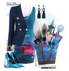 """Boho Blues Style Notes"" by debschlier ❤ liked on Polyvore featuring Versace, Balenciaga, Balmain, Oscar de la Renta, Montblanc, RetroSuperFuture, bleu, Blue, boho and fashiontrend"