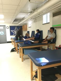 This a picture of the athletic training room. It is located under the coaches offices, near the fitness center. This is an important place for athletes to be aware of for stretching, physical therapy, massages, ice baths etc for whichever sports they play.