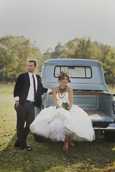 Bohemian Wedding Shoot with light blue pick up truck by Melissa McCrotty Photography