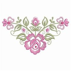 Ace Points Embroidery Design: Dainty Roses Corner 2.16 inches H x 3.81 inches W