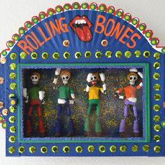 Rolling Bones-Day of the Dead art piece. Get your satisfaction... Handmade. Unique.