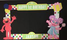 sesame street elmo and abby cadabby birthday party photo booth frame Party Photo Frame, Birthday Photo Frame, Birthday Frames, Photo Booth, Elmo Birthday, Baby First Birthday, 2nd Birthday Parties, Birthday Ideas, Seasame Street Party