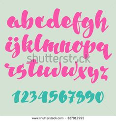 Brush pen style vector alphabet calligraphy low case letters and figures. For expressive brush retro style lettering design.