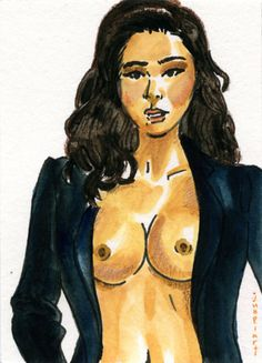 ACEO A model / Original Drawing / Female nude #IllustrationArt #aceo #nude #girl #woman #female #art #painting