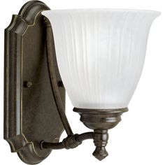 Progress Lighting P3016 Renovations Single-Light Bathroom Sconce with Etched Rib Forged Bronze Indoor Lighting Wall Sconces Reversible