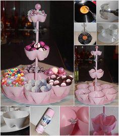 bouteille en plastique presentoir-sucreries-peinture-rose-bonbon