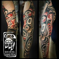 tatouage polynesien and Norse tattoo Haida Kunst, Haida Art, Gear Tattoo, Tattoo You, Native Tattoos, Tribal Tattoos, Tatouage Haida, West Coast Tattoo, Coyote Tattoo