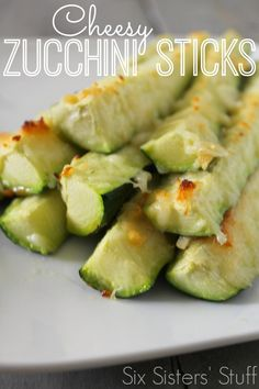 These Cheesy Zucchini Sticks are SO tasty! A great way to get more veggies in your diet. From SixSistersStuff.com