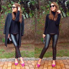 Paula Echevarría: jersey cuello cisne/swan neck con look total black. #tendencias #streetstyle #blogger