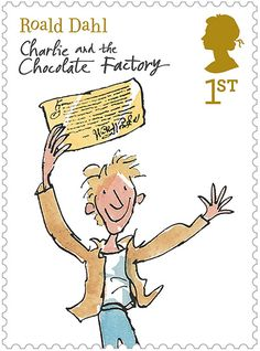 Roald Dahl . Charlie & the Chocolate Factory . { stamp . with illustration by Quentin Blake } .