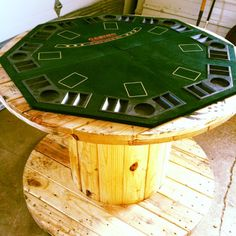 Electric spool number two was made into a poker table for my dad's shed. He loved it and it was so simple!   Again, I coated a larger (tabl...