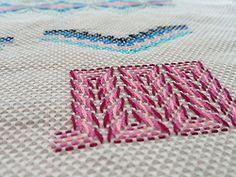 "hardcorestitchcorps: "" This type of needlework is called huck weaving, and I think it's pretty cool. These were beautifully stitched by Julie. Swedish Embroidery, Hand Work Embroidery, Hardanger Embroidery, Types Of Embroidery, Diy Embroidery, Embroidery Patterns, Swedish Weaving Patterns, Bargello Needlepoint, Monks Cloth"