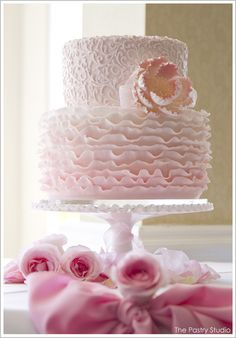 Soft Pink Pastel Delicate Scroll Work Romantic Cake