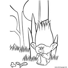 Print Sad Branch Trolls movie coloring pages