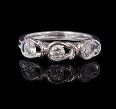 Ladies 14k White Gold, .45cttw Diamond Loop Knot Wedding Band, Fashion Ring $412