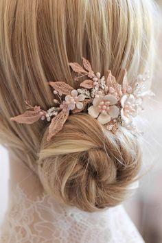 Blushing Beauties | Silver and blush bridal hair combs - TANIA MARAS | bespoke wedding headpieces + wedding veils