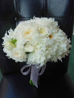 Dahlias and David Austin roses white bouquet with  gray ribbon by Limelight Floral design Hoboken NJ