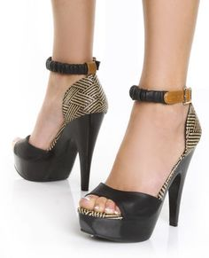 Mona Mia Trinidad Black & Tan Woven Platform Pumps