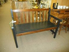 $129 - Park Style Bench slat back and seat - brown wood tone & black finish. ***** In Booth D16 at Main Street Antique Mall 7260 E Main St (east of Power RD on MAIN STREET) Mesa Az 85207 **** Open 7 days a week 10:00AM-5:30PM **** Call for more information 480 924 1122 **** We Accept cash, debit, VISA, Mastercard, Discover or American Express