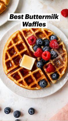 Buttermilk Waffles, Homemade Buttermilk, Homemade Waffles, Breakfast Waffles, Pancakes And Waffles, Yummy Waffles, Brunch Recipes, Breakfast Recipes, Waffle Maker Recipes
