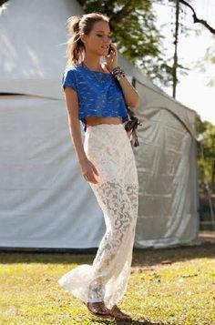 saia branca de renda Farm Verão 2012