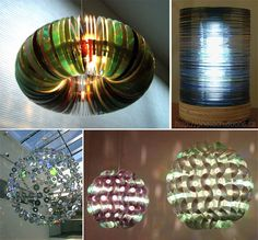 different styles of CD lamps, great way to use your old CD collection....