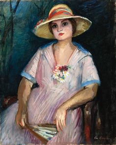 Lola assise au grand chapeau, Charles Camoin. French Fauvist Painter (1879 - 1965)