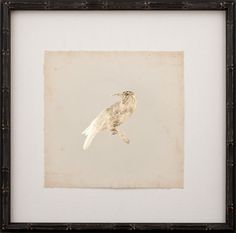 Gold Leaf Bird Printed on Archival Paper, floated on oyster linen and finished in an Espresso Bamboo Frame from Mirror Image Home