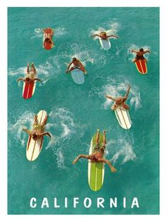 California Surfing Vintage Print