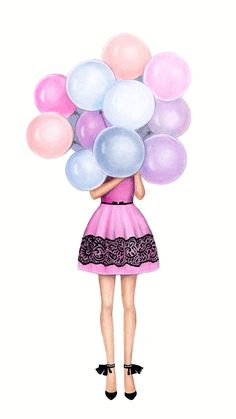 Birthday girl drawing illustrations 25 trendy ideas - New Sites Best Friend Drawings, Girly Drawings, Birthday Card Drawing, Birthday Cards, Art And Illustration, Illustration Pictures, How To Draw Balloons, Drawing Balloons, Girl Drawing Pictures