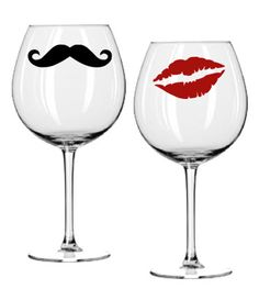 Wine Glass Decal Set - Kiss and Mustache - Red Lips. $6.00, via Etsy.