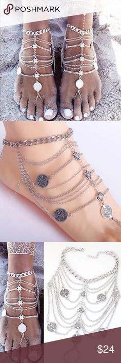 Coin Barefoot Wedding Sandals Body Jewelry - Pair Pair of Bohemian silver barefoot beach wedding sandal with layers of faux antique vintage coins and chain embellishment. Perfect foot jewelry for those hot summer beach days. Adjustable. One size fits most. NWT. Stunning! We ship fast with FREE NWT GIFT 🎁.  Bundles receive a 15% discount and only one Poshmark ship charge, so be sure to check out our amazing closet of beach attire and accessories for bundling opportunities! (D6) Swim Coverups