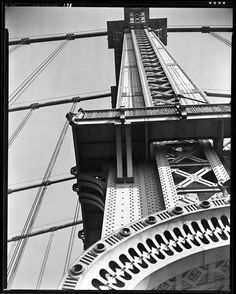 Berenice Abbott (1898-1991)  Federal Art Project  Manhattan Bridge, Looking Up  DATE:November 11, 1936  Looking straight up one of the Manhattan Bridge's supporting piers, taken from the southern pedestrian walkway.