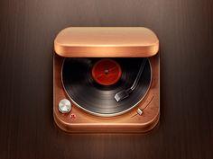 Record Player iOS Icon #photoshop #vinyl #retro #vintage
