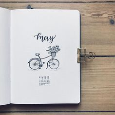 Bullet journal monthly cover page May cover page bicycle drawing flower doodles bicycle with flowers in basket drawing. Diy Bullet Journal, Bullet Journal Doodles, Bullet Journal Cover Page, Bullet Journal Themes, Bullet Journal Spread, Journal Covers, Bullet Journal Inspiration, Journal Pages, Journal Ideas