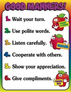 Good Manners Chart--the chart was based on rules formulated by the Children's… Manners Preschool, Manners Activities, Manners For Kids, Good Manners, English Activities, Preschool Learning, Preschool Activities, Teaching Manners, Teaching Respect