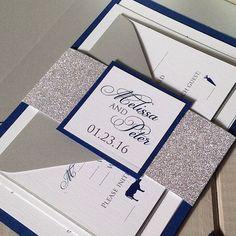 Royal Blue And Silver Wedding Invitation Wedding stuff Pinterest