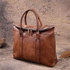 Leather Briefcase Men's Business Bag Handbag Men Fashion Laptop Bag in Vintage Brown 9069 - LISABAG