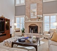 Great Room With Two Story Fireplace Interiors A View Inc