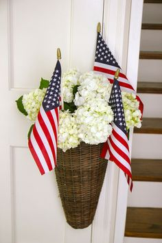 Gathering Basket - Everyday Occasions Perfect for 4th of July!  Easy to create - white hydrangeas (or blue!) with water tubes (included with the basket) and flags.  $32.50