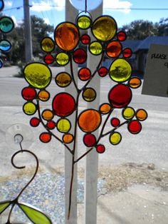 Small Bubble Tree Suncatcher in Fall Colors by PaneintheGlassGifts, $65.00