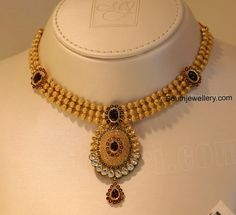 Awesome Gold Pendant Necklace Designs beaded gold necklace with pendant opqakrt - Jewelry Amor Antique Jewellery Designs, Gold Jewellery Design, Silver Jewellery, Gold Jewelry Simple, Metal Clay Jewelry, Gold Pendant Necklace, Gold Choker, Pendant Jewelry, Latest Jewellery
