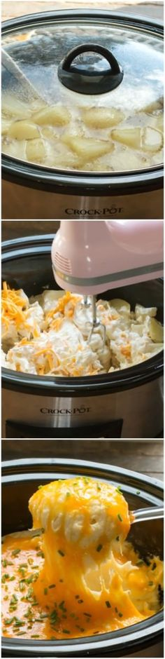 Slow Cooker Cheesy Mashed Potatoes. A cheese lover's dream! Also perfect for feeding a crowd.