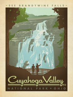 Cuyahoga Valley National Park - Anderson Design Group has created an award-winning series of classic travel posters that celebrates the history and charm of America's greatest cities and national parks. This print celebrates the peaceful beauty of Brandywine Falls in Cuyahoga National Park.<br />