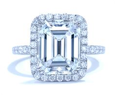 Ascot Diamonds Center stone: 5.57 emerald Color: I Clarity:VS2 Certificate: GIA   view Mounting: 80 = 0.98   Metal: Platinum Actual piece ~ Fiorentino collection by Catherine Ryder