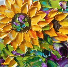 Sunflowers Painting Sunflower Canvas, High School Art Projects, Caribbean Art, Funky Art, 3 Arts, Texture Painting, Whimsical Art, Art Pages, Tree Art