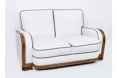 Antique Art Deco Ivory Leather 2 Seat Settee C1930 | Vinterior London  #artdeco #vintage