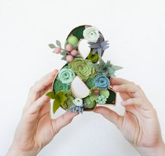 Mini Felt Succulent Ampersand  Size 6 inches by SugarSnapBoutique